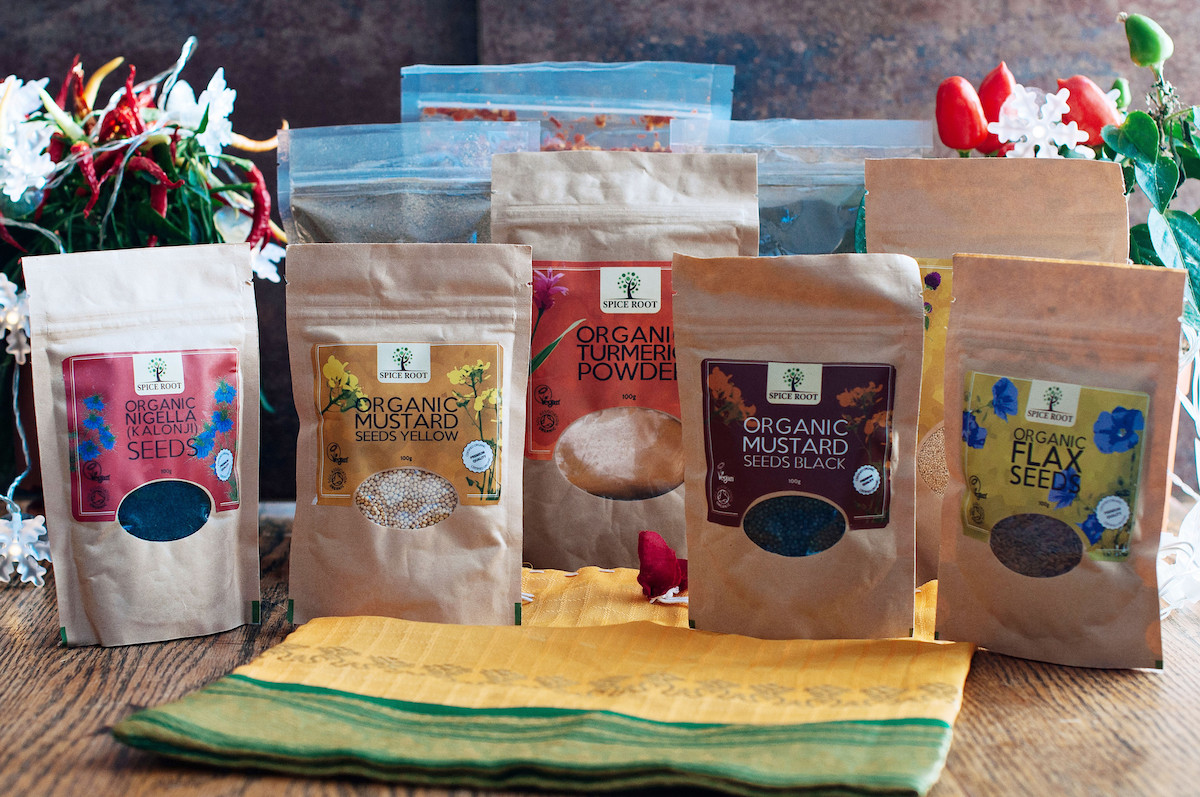 Organic Ingredients gift set for the culinary enthusiast, in handmade cloth bag